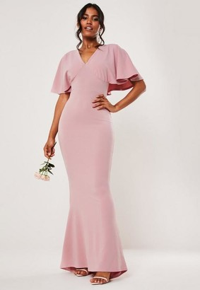 Missguided Petite Bridesmaid Pink Cape Sleeve V Neck Fishtail Maxi Dress