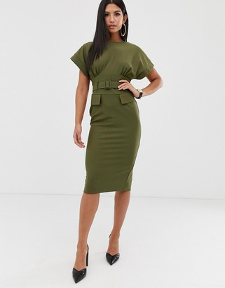 Asos Design DESIGN belted midi utility pencil dress-Green