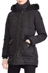 Lauren Ralph Lauren Puffer Coat with Faux Fur Trim