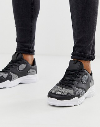 Brave Soul chunky trainers with checked panels-Black