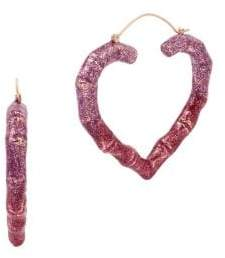 Betsey Johnson Ombre Heart Hoop Earrings