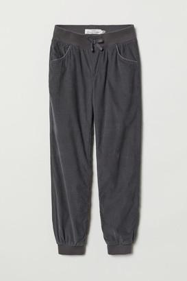 H&M Lined Corduroy Pants - Gray