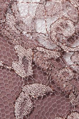 Coco de Mer Gaia Satin-trimmed Metallic Lace Thong - Brown