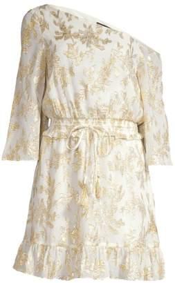 Rachel Zoe Flora Metallic Silk One-Shoulder Dress