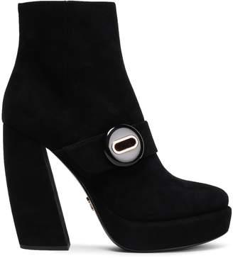 Prada Button-embellished Suede Platform Ankle Boots