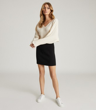 Reiss Simone - Colour Block Knitted Dress in White/black