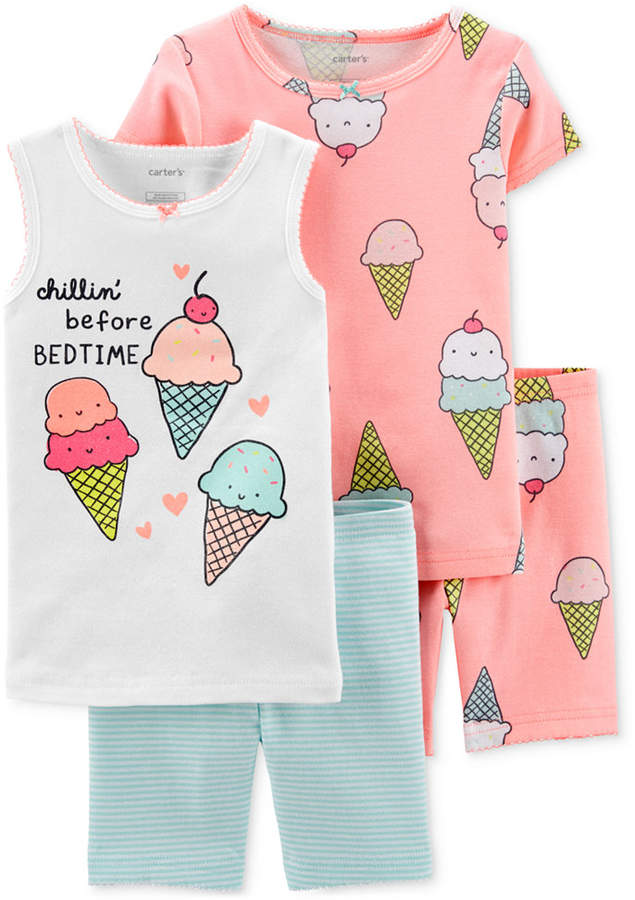 Carter's Carter Toddler Girls 4-Pc. Cotton Ice Cream Pajamas Set