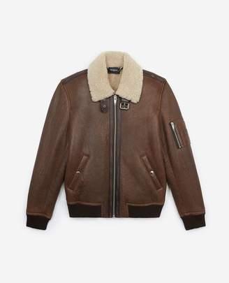 The Kooples Flight-style brown leather jacket