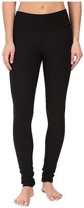 Plush Fleece-Lined Cotton Yoga Leggings with Hidden Pocket (Black) Women's Casual Pants