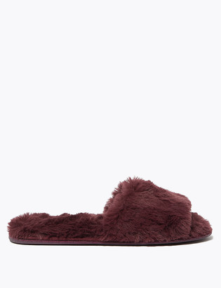 Marks and Spencer Faux Fur Open Toe Flat Mule Slippers