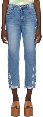 Sjyp Blue Side Destroyed Jeans