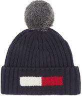 Tommy Hilfiger Navy Knitted Luxury Flag Bobble Wool-cotton Beanie