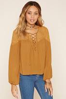 Forever 21 FOREVER 21+ Embroidered Lace-Panel Top