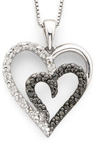 JCPenney FINE JEWELRY 1/10 CT. T.W. White & Color-Enhanced Black Diamond Heart Pendant Necklace Sterling Silver