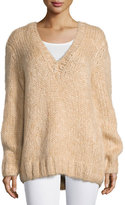 Michael Kors Long-Sleeve V-Neck Sweater, Nude