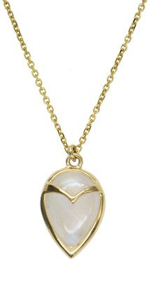 Rachel Atherley Moonstone Owl Yellow Gold Necklace