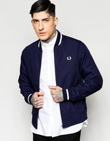 Fred Perry Laurel Wreath Bomber Jacket In Navy Made In England
