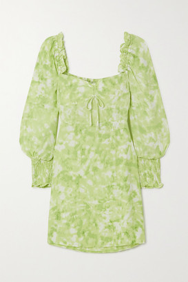 Faithfull The Brand Arianne Ruffled Tie-dyed Crepe Mini Dress - Lime green