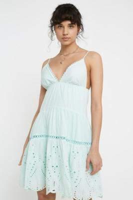 Urban Outfitters Kiss The Sky Sea Spray Mini Dress - blue L at