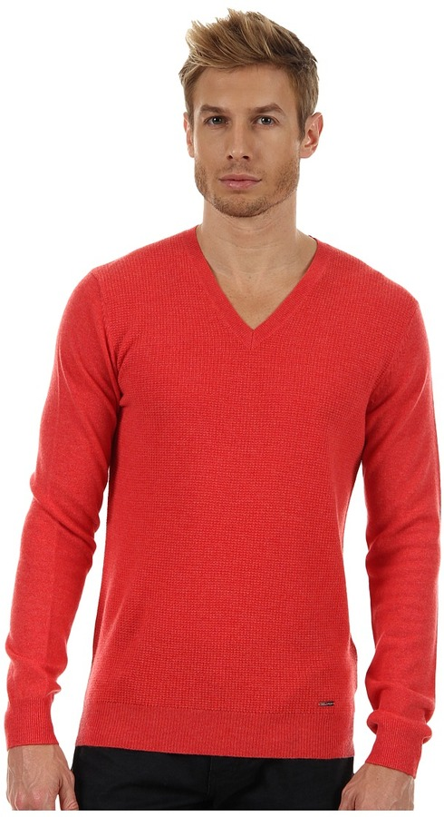 DSquared DSQUARED2 - Cashwool Long Sleeve V-Neck Sweater (Coral) - Apparel
