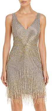 Aidan Mattox V Neck Beaded Cocktail Dress