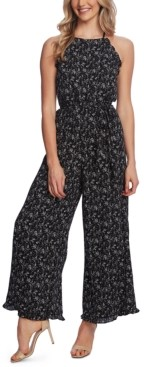 CeCe Printed Halter Ruffled Jumpsuit