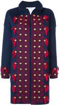 Oscar de la Renta stud and tassel detail coat
