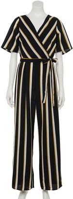 Trixxi Juniors' Striped Flair-Sleeve Jumpsuit