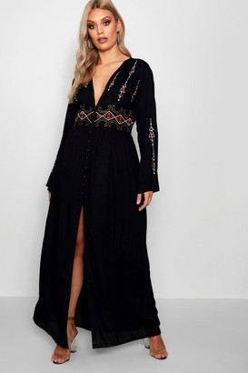 boohoo Plus Embroidered Plunge Maxi Dress
