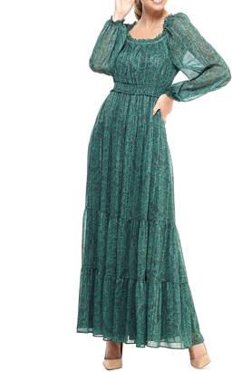 Gal Meets Glam Shadow Paisley Ruffle-Trim Tiered Maxi Dress