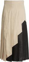 Joseph Saar Leather-Paneled Pleated Linen Maxi Skirt