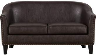 Online Brown Faux Leather Upholstered Settee