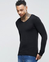 Asos Muscle Fit V Neck Sweater in Black Cotton