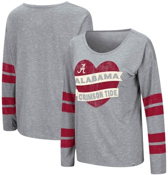 Colosseum Women's Heathered Gray Alabama Crimson Tide Nellie Heart Striped Long Sleeve T-Shirt