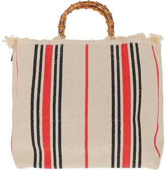 Lamilanesa Large Red Stripes Canvas Tote bag w/Bamboo Handles
