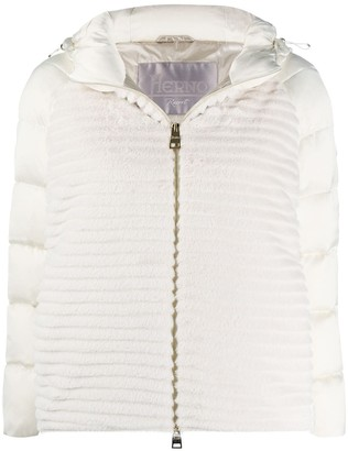 Herno Knitted Panel Puffer Jacket