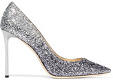 Jimmy Choo Romy Glittered Leather Pumps - Silver