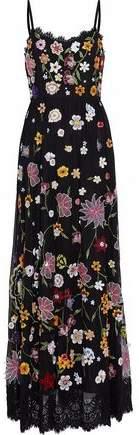 Alice + Olivia Embellished Lace-Trimmed Tulle Maxi Drress