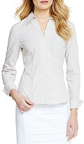 Calvin Klein Wrinkle-Free Pinpoint Oxford Stripe Blouse