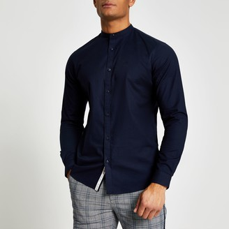 River Island Mens Navy grandad collar muscle fit Oxford shirt