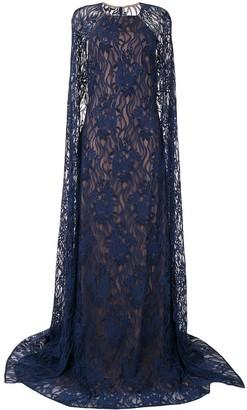 Tadashi Shoji Embroidered Cape Dress