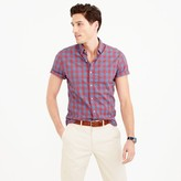 J.Crew Tall short-sleeve shirt in heather poplin blue gingham