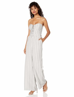 Ali & Jay Women's Game Day Strapless Lace Up Wide Leg Jumpsuit