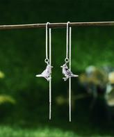 Lotus Fun Women's Earrings Silver - Sterling Silver Bird Threader Earrings