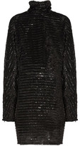 McQ Tinsel-Embellished Tulle Turtleneck Mini Dress