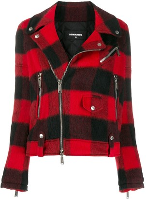 DSQUARED2 Check Pattern Biker Jacket