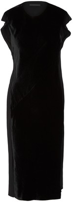 Helmut Lang Black velvet and matte satin midi dress