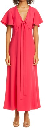 ADEAM Flutter Sleeve Tie Bodice Crepe Maxi Dress