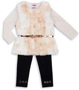 Little Lass Girls 2-6x Three-Piece Faux Fur Vest, Top and Leggings Set