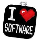 3dRose Dooni Designs Geek Designs - Geeky Old School Pixelated Pixels 8-Bit I Heart I Love Software - 8x8 Potholder (phl_118940_1)